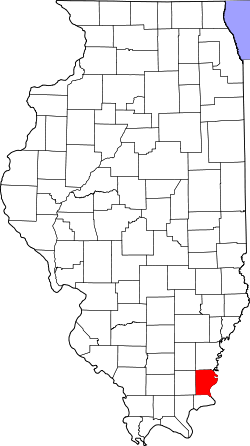 map of Illinois highlighting Gallatin County