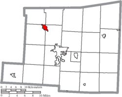 Location of Fredericktown in Knox County