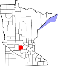 Map of Minnesota highlighting Meeker County
