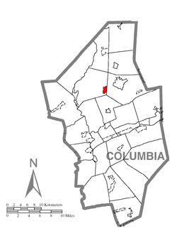 Rohrsburg's location within Columbia County