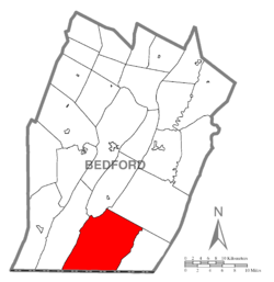 Map of Bedford County, Pennsylvania highlighting Southampton Township