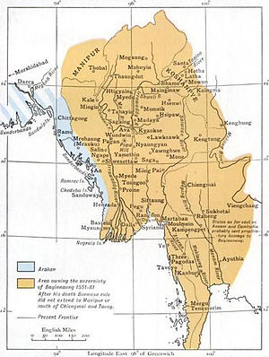 Shan States - Map of the Toungoo Kingdom with the Koshanpye in the NE.