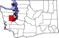 Map of Washington highlighting Mason County
