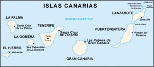 Mapa do arquipélago das Canárias.