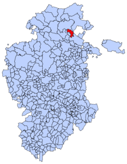 Municipal location of Merindad de Cuesta-Urria in Burgos province