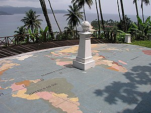 Pestana Equador - Mark of the Equator erected by Gago Coutinho southwest of the resort and the view of São Tomé Island