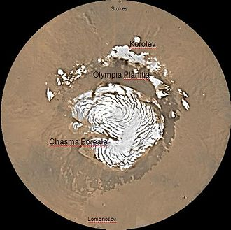 Korolev (Martian crater) - Image: Mare Boreum Map