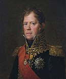 Painting of a red-headed man with long sideburns and blue eyes. He wears a dark blue military uniform with a high collar, a red sash and much gold braid.