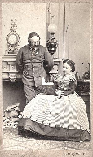 Marie von Ebner-Eschenbach - Marie von Ebner-Eschenbach with husband Moritz von Ebner-Eschenbach, c. 1865