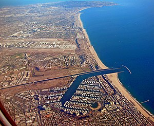 Marina del Rey, California - Aerial view of Marina del Rey, with Los Angeles International Airport and Palos Verdes Peninsula in the background.