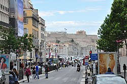 Marseille (France), Canebière and Fort Saint-Nicolas.JPG