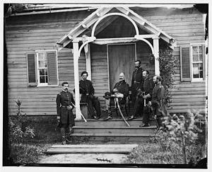 Marsena R. Patrick - Patrick (center, seated with hat on his knee) and staff at Culpeper, Virginia, in 1863.