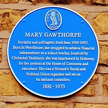 Blue plaque at Warrel's Mount, Bramley. Mary Gawthorpe the Suffragette once lived on this street.