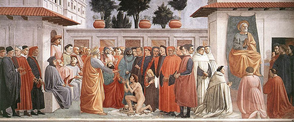Masaccio - Raising of the Son of Theophilus and St Peter Enthroned - WGA14189