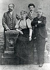 Links Max Abraham, im Vordergrund Nina und Edvard Grieg (Quelle: Wikimedia)