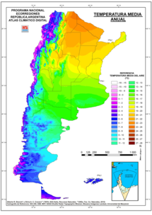 Map showing mean temperatures in Argentina (including the Falkland Islands). Mean annual temperatures range from more than 22 °C (71.6 °F) in the center north to between 4 °C (39.2 °F) in the south and extreme western parts of the country. Temperatures generally decrease southwards and westwards owing to a higher latitude and altitude.