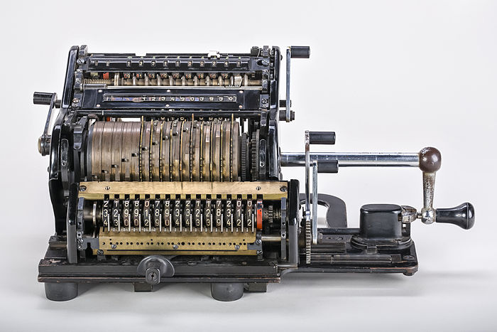A Brunsviga 15 mechanical calculator with serial number 202550. The shrouds had been removed to reveal the internal mechanic. Produced by Brunsviga-Maschinenwerke Grimme, Natalis & Co. AG, Braunschweig between 1934 and 1947.
