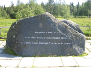 "Battle of Midtskogen - Memorial stone to commemorate the battle. ""Here Norwegian forces stopped the enemy′s attempt at capturing the King, Crown Prince, parliament and cabinet""."