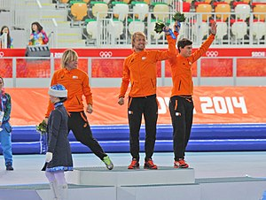Speed skating at the 2014 Winter Olympics – Men's 500 metres - Image: Men's 500m, 2014 Winter Olympics, Podium
