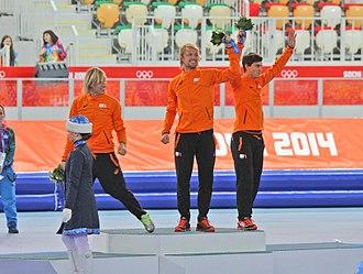 Speed skating at the 2014 Winter Olympics – Men's 500 metres - Image: Men's 500m, 2014 Winter Olympics, Podium