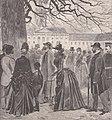 Menschen lesen das ärztliche Bulletin über das Befinden des Kaisers Friedrich, 1888.jpg