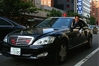 34th G8 summit - Security Police in a Mercedes-Benz S600. A placard in the window shows these SP officers are escorting the South Korea delegation.