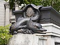 Merchant Seamen's Memorial - fish sculpture at western stairs to sunken garden 01.jpg