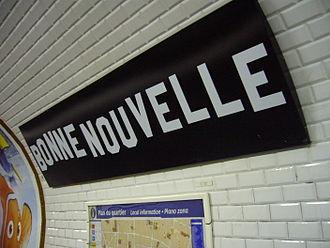 Bonne Nouvelle (Paris Métro) - Image: Metro Paris Ligne 8 Station Bonne Nouvelle (1)