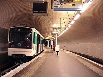 Gambetta (Paris Métro) - Image: Metro de Paris Ligne 3 bis Gambetta 02