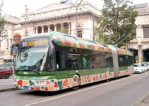 Trolleybuses in Milan - An articulated Irisbus Cristalis, no. 409, in service on route 90.