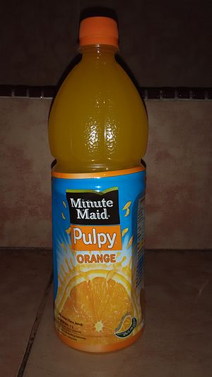 Minute Maid - A liter of Minute Maid Pulpy Orange in a bottle in Indonesia