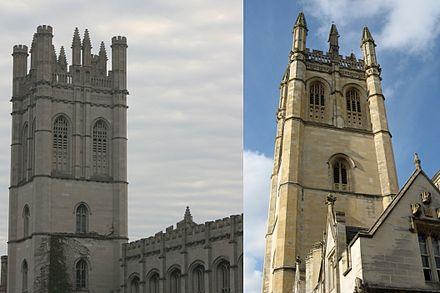 Many older buildings of the University of Chicago employ Collegiate Gothic architecture like that of the University of Oxford. For example, Chicago's Mitchell Tower (left) was modeled after Oxford's Magdalen Tower (right). Mitchell-Magdalen comparison.jpg