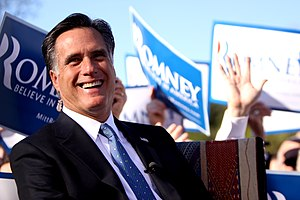 Public image of Mitt Romney - Mitt Romney laughing while campaigning in Paradise Valley, AZ, 2011