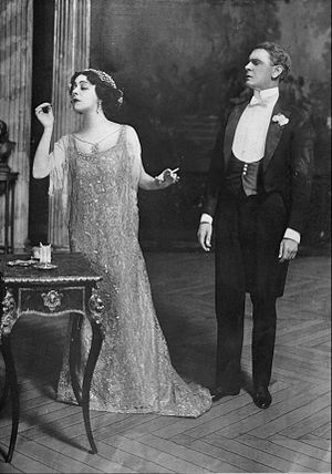 "Frank Gillmore - Mme Nazimova and Frank Gillmore in Pierre Wolff's Comedy ""The Marionettes"" at the Lyceum Theatre, 1912"