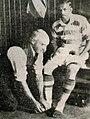Mohammed Salim (Indian footballer) having feet bandaged at Celtic FC, 1936 photograph.jpg