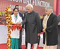 """Mohd. Hamid Ansari lighting the lamp to inaugurate the """"3rd Foundation Day function of """"Institute of Liver and Biliary Sciences (ILBS)"""", in New Delhi. The Chief Minister of Delhi, Smt. Sheila Dikshit is also seen.jpg"""