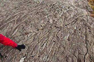 Moine Supergroup - Folded Morar Schist of the Morar Group, in Glen Meadail near Inverie in Knoydart.