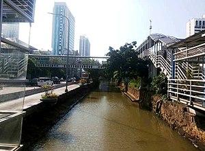 Jalan Gajah Mada and Jalan Hayam Wuruk - Flood canal passing between Jalan Gajah Mada and Jalan Hayam Wuruk.
