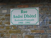 Mont-de-Jeux (Ardennes, Fr) main streat named after André Dhôtel.JPG