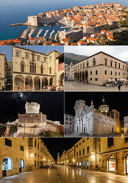 Top: old city of Dubrovnik, Second left: Sponza Palace, Second right: Rector's Palace, Third left: city walls, Third right: Dubrovnik Cathedral, Bottom: Stradun, the city's main street