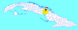 Morón municipality (red) within Ciego de Ávila Province (yellow) and Cuba