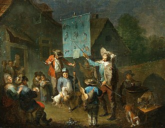 """Cantastoria - Depiction of a Dutch liedjeszanger (""""song-singer"""") and his Bänkelsang from the 17th or 18th century"""