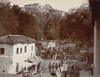 Moula-Ali - View of bazaar with Maula Ali Hill in the background., circa 1902