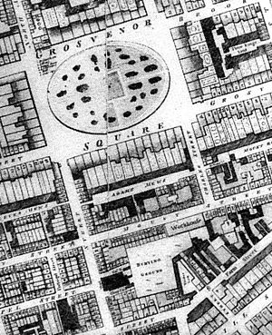 Mount Street Gardens - An old map showing the gardens as burial grounds (the second block south of Grosvenor Square)