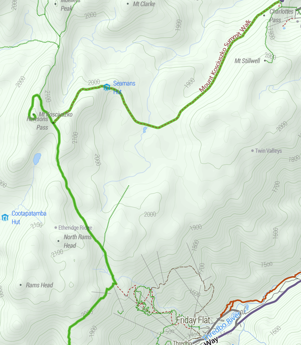 Topographic map of Mt Kosciuszko including the approaches from Charlotte Pass and Thredbo. Mt Kosciuszko map Stevage.png