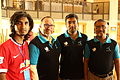 Munir Hasan, Nasir Khan Saikat, Jimmy Wales, and Zahid Hossain khan at BnWiki10.JPG