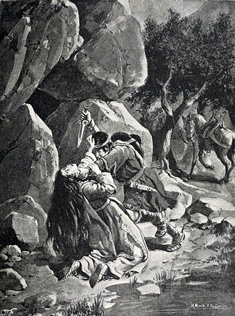 Irene of Tomar - The murder of Irene, lithography by Manuel Macedo and Alfredo Roque Gameiro, 1904.