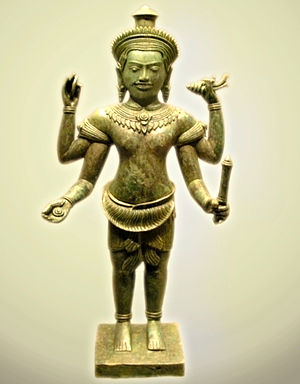 Eastern religions - A 13th century Cambodian statue of Vishnu.