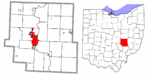 Muskingum County Ohio Zanesville highlighted.png