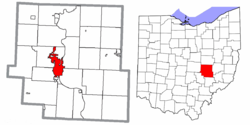 Location of Zanesville in Muskingum County and the state of Ohio